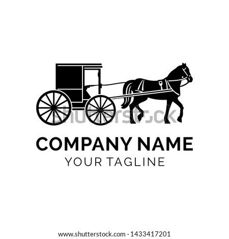 modern horse-drawn carriage logo design Stock photo ©