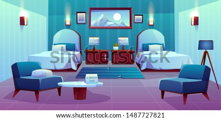 Modern hotel comfortable double room interior with separate single beds, lamps on bedside cabinets, mountain paintings on wall, armchairs, greeting card on coffee table cartoon vector illustration