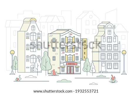 Modern Hotel House Building on a Cityscape Concept Contour Linear Style. Vector illustration of Lineart Facade Motel Сток-фото ©