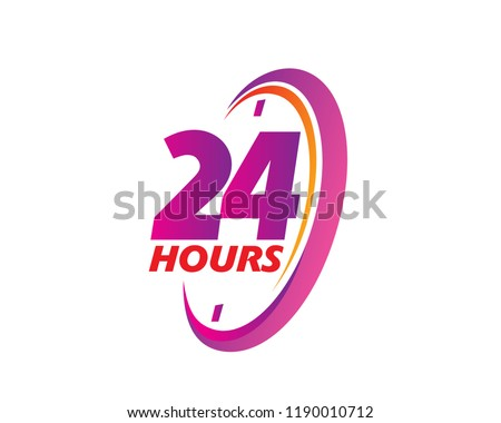Modern 24 Hours Sign Logo Illustration In Isolated White Background