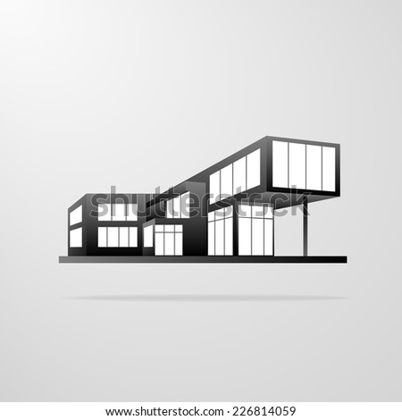 modern house building, real estate concept icon