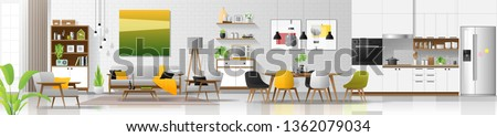 Modern house interior background with living room , dining room and kitchen combination , vector , illustration