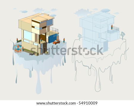 modern house isometric. very detail vector illustration. see the others