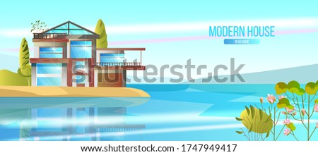 modern house vector banner with