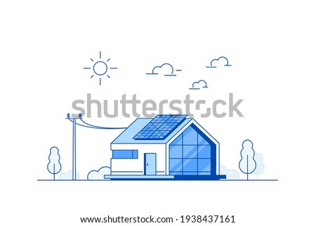 Modern House with Solar Panels on the Roof. Eco House, Energy Effective House, Green Energy concept banner design. Flat style vector illustration.
