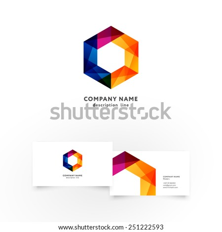 Modern icon design hexagon shape element with business card template. Best for identity and logotypes.