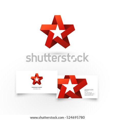 Modern icon design logo element with business card template. Best for identity and logotypes. Star.