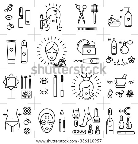 Modern icons set of cosmetics, beauty, spa and symbols collection made in modern linear vector style. Perfect design element  for the cosmetics shop, a hairdressing salon, cosmetology center - Shutterstock ID 336110957