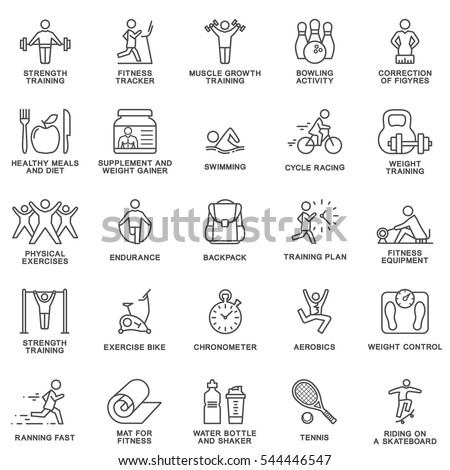modern icons set of fitness