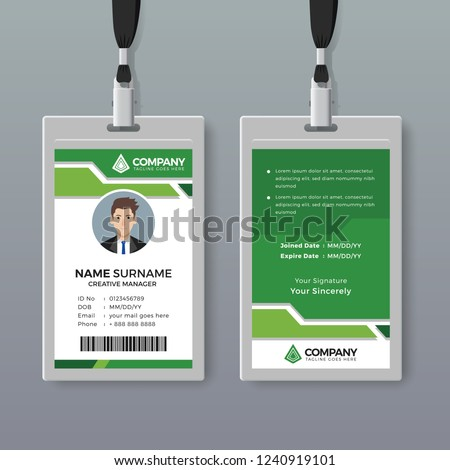 Modern ID card template with green details