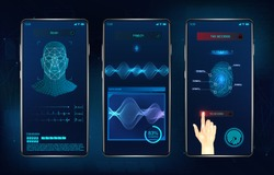 Modern identification smartphone app. Biometric scanning fingerprint, face recognition and voice recognition for authorization verification. UI futuristic identification APP. Vector illustration