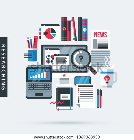 Modern illustration about researching in flat design style on gray background. Desktop computer, laptop, big magnifier, newspapers, books, office tools