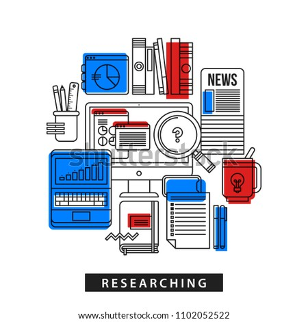 Modern illustration about researching in outline flat style on white background. Desktop computer, laptop, big magnifier, newspapers, books, office tools
