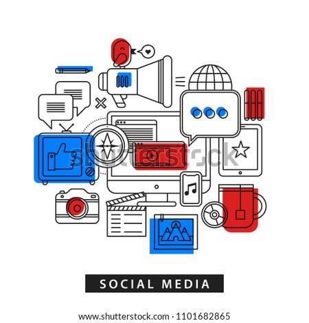 Modern illustration about social media in outline flat style on white background. Desktop computer, TV, phone, camera, tablet etc.