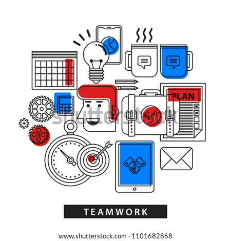 Modern illustration about teamwork in outline flat style on white background. Office tools and accessories