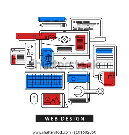 Modern illustration about web design in outline flat style on white background. Drawing tools, computer, pictures, notebook