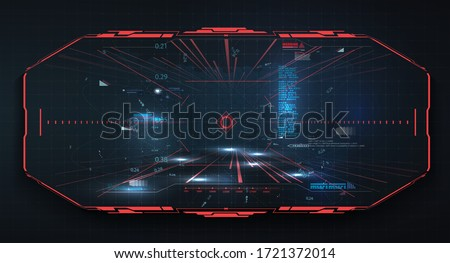 Modern illustration for game background design Futuristic HUD, GUI interface screen design  vector. Sci-Fi Virtual Reality technology view display. Technology vr background. Red virtual reality gaming