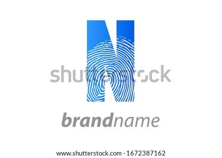 Modern illustration logo design initial N finger Print. Foto stock ©