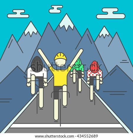 modern illustration of cyclists