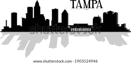 Modern illustration of the city of Tampa Florida downtown buildings skyline silhouette in black and white with shadow reflecting. Illustrator eps vector graphic design.  Foto stock ©