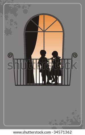 Modern illustration with silhouettes of children. On a balcony there is a boy and the girl. Behind a window light burns. - stock vector