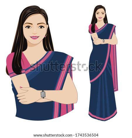 Modern Indian woman. Vector illustration of a modern Indian woman in a sari isolated on a white background. Zdjęcia stock ©