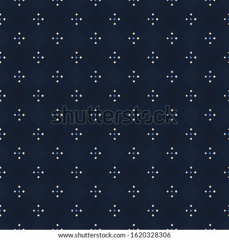 Modern indigo blue argyle plaid pattern repeat check motif. Ditsy floral ornament. Simple geo all over print block for apparel textile, patchwork fabric, fashion garment, flannel shirt, wrapping cloth Stockfoto ©
