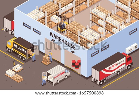 Modern industrial warehouse interior with storage racks facilities exterior with logistic delivery services isometric view vector illustration  ストックフォト ©