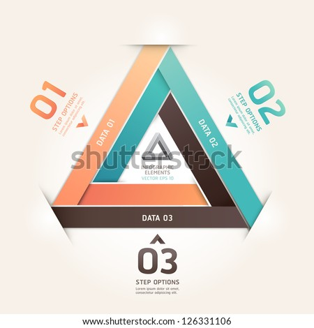 Modern infinite triangle origami style number options banner. Vector illustration. can be used for workflow layout, diagram, step options, web design, infographics.