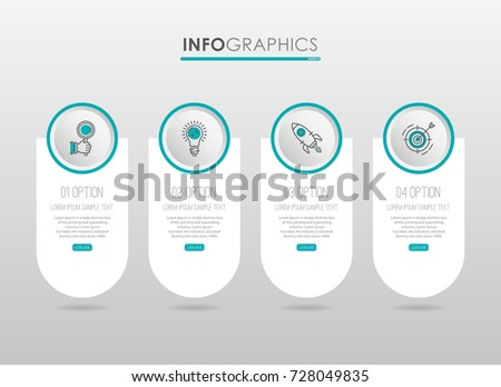 Modern Info-graphic Template for Business diagram with 4 steps design, icons 4 options, Process chart, labels, Green blue color, Creative vector info-graphic element.