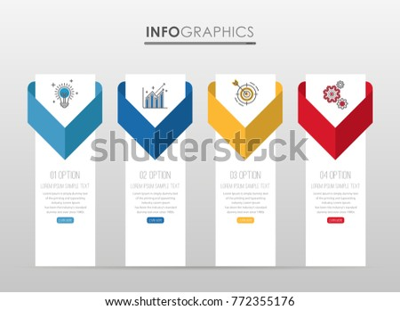 Modern Info-graphic Template for Business diagram with 4 steps design, Multi-Color design, icons 4 options, Process chart, labels, Creative vector info-graphic element.