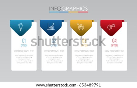 Modern Info-graphic Template for Business with four steps multi-Color design, labels design, Vector info-graphic element, Flat style vector illustration EPS 10.