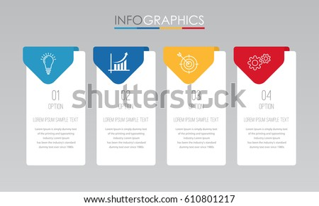 Modern Info-graphic Template for Business with 4 steps, icons for 4 options, multi-color, labels. Vector info-graphic element.