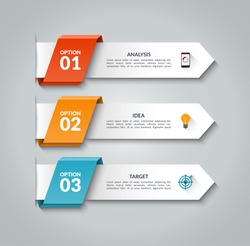 Modern infographic arrows. Vector design template of 3 options, steps, parts. Can be used for workflow layout, diagram, step by step infographics, graph, chart, diagram, web design.