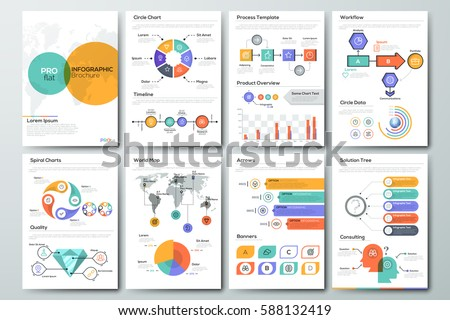 Modern infographic brochure template. Pages with diagram, graph, chart and workflow elements. Business data visualization concept. Vector illustration for presentation, statistics report, website.