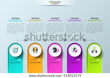 Modern infographic design template: 5 elements connected by lines with play buttons. Steps of business development. Elements for corporate video presentation. Vector illustration for report, website.