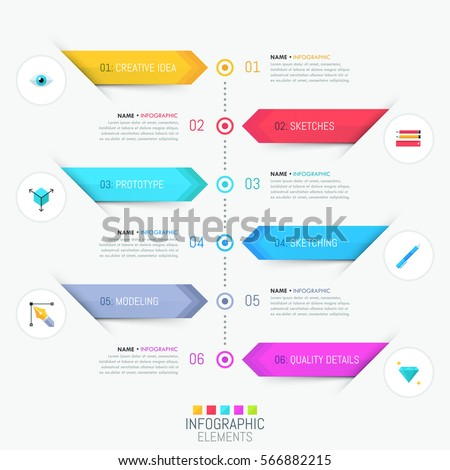 Modern infographic design template. Six numbered multicolored stripes, text boxes and pictograms. Timeline or website menu concept. Vector illustration for presentation, banner, report, brochure.