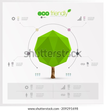 Modern infographic design with origami tree can be used for workflow layout chart number options presentation web design Eps 10 stock vector illustration