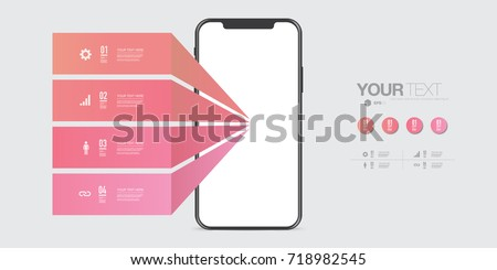 Modern infographic design with realistic 3D smartphone and design elements Eps 10 stock vector illustration