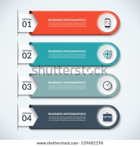 Modern infographic elements. Vector banner with 4 options. Design template with circles and icons. Can be used for workflow layout, diagram, report, number and step up options, web design.