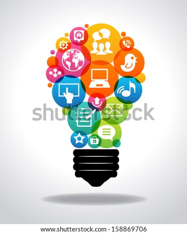 Modern infographic template. Colorful social media icons form the shape of the light bulb. File is saved in AI10 EPS version. This illustration contains a transparency.   - stock vector