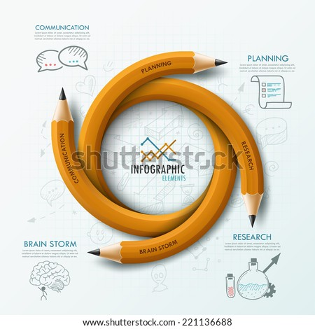 Modern infographic template with 4 curved pencils and hand drawn sketches on paper background Vector Can be used for web design and workflow layout