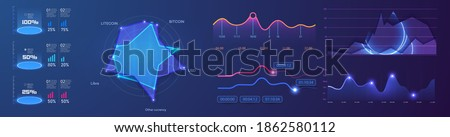 Modern infographic vector template with statistics graphs and finance charts. Diagram template and chart graph, graphic information visualization illustration