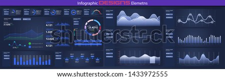 Modern infographic vector template with statistics graphs and finance charts UI/UX. Diagram template and chart graph, graphic information visualization illustration. Stock vector