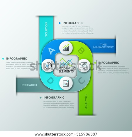 Modern infographics cycle template with paper circles,ribbons and icons for 4 options. Vector. Can be used for web design and  workflow layout