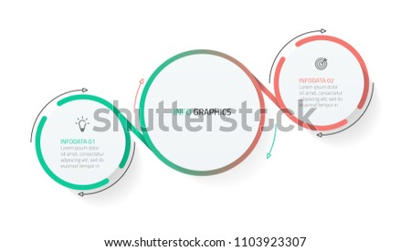 Modern infographics design vector elements with circle shape and marketing icons. Business concept with 2 options, steps or processes.