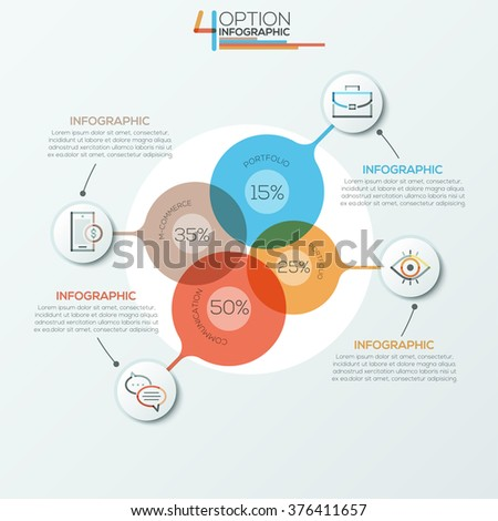 Modern infographics options banner area chart for 4 options. Vector. Can be used for web design, presentations, brochures and  workflow layout #376411657
