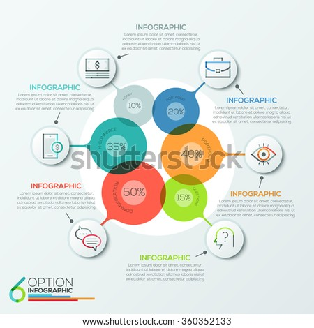 Modern infographics options banner area chart with 6 intersection circles and icons. Vector. Can be used for web design, presentations, brochures and  workflow layout #360352133