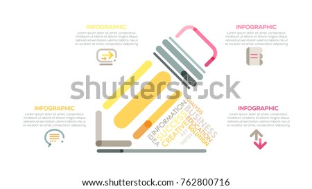 Modern infographics options banner with colorful pencil in outline style. Vector. Can be used for web design and  workflow layout.Unusual presentation slide