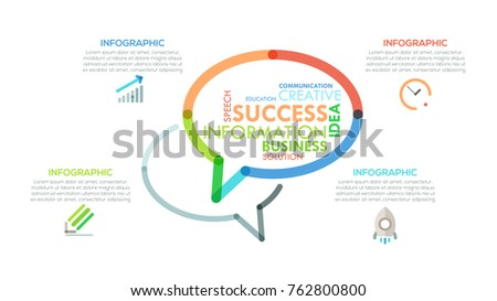 Modern infographics options banner with colorful speech symbol in outline style. Vector. Can be used for web design and  workflow layout. Unusual presentation page